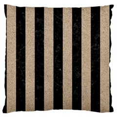 Stripes1 Black Marble & Sand Large Flano Cushion Case (one Side) by trendistuff