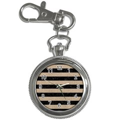 Stripes2 Black Marble & Sand Key Chain Watches by trendistuff