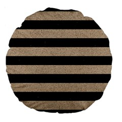Stripes2 Black Marble & Sand Large 18  Premium Flano Round Cushions by trendistuff
