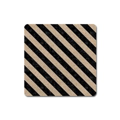 Stripes3 Black Marble & Sand Square Magnet by trendistuff