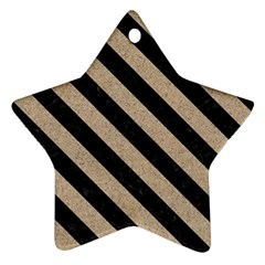 Stripes3 Black Marble & Sand Star Ornament (two Sides) by trendistuff