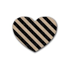Stripes3 Black Marble & Sand Heart Coaster (4 Pack)  by trendistuff