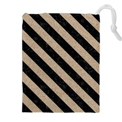 Stripes3 Black Marble & Sand Drawstring Pouches (xxl)