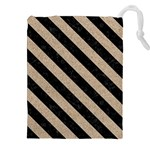 STRIPES3 BLACK MARBLE & SAND Drawstring Pouches (XXL) Front