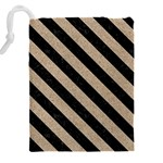 STRIPES3 BLACK MARBLE & SAND Drawstring Pouches (XXL) Back