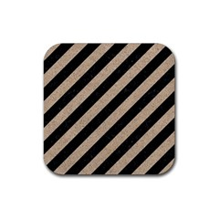 Stripes3 Black Marble & Sand (r) Rubber Coaster (square)  by trendistuff
