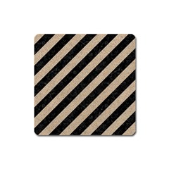 Stripes3 Black Marble & Sand (r) Square Magnet by trendistuff