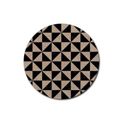 Triangle1 Black Marble & Sand Rubber Coaster (round)  by trendistuff