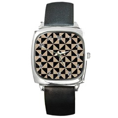 Triangle1 Black Marble & Sand Square Metal Watch by trendistuff