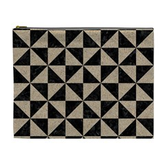 Triangle1 Black Marble & Sand Cosmetic Bag (xl) by trendistuff