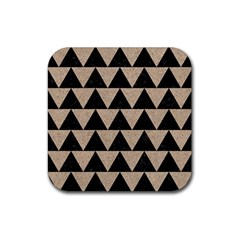 Triangle2 Black Marble & Sand Rubber Coaster (square)  by trendistuff