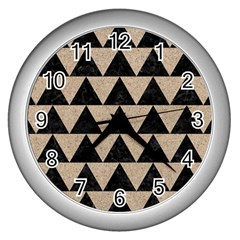 Triangle2 Black Marble & Sand Wall Clocks (silver)