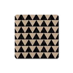Triangle2 Black Marble & Sand Square Magnet by trendistuff