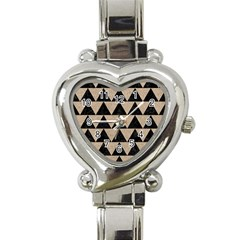 Triangle2 Black Marble & Sand Heart Italian Charm Watch by trendistuff