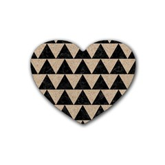 Triangle2 Black Marble & Sand Heart Coaster (4 Pack)  by trendistuff