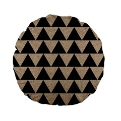 Triangle2 Black Marble & Sand Standard 15  Premium Flano Round Cushions by trendistuff