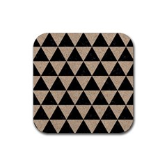 Triangle3 Black Marble & Sand Rubber Coaster (square)  by trendistuff
