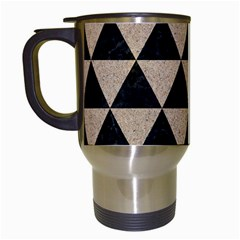 Triangle3 Black Marble & Sand Travel Mugs (white) by trendistuff