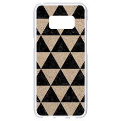 Triangle3 Black Marble & Sand Samsung Galaxy S8 White Seamless Case by trendistuff
