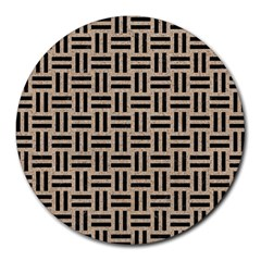 Woven1 Black Marble & Sand Round Mousepads by trendistuff