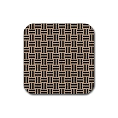 Woven1 Black Marble & Sand Rubber Square Coaster (4 Pack)  by trendistuff