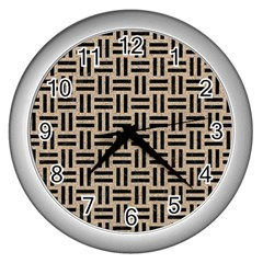 Woven1 Black Marble & Sand Wall Clocks (silver)  by trendistuff
