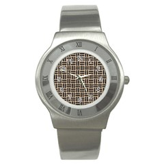 Woven1 Black Marble & Sand Stainless Steel Watch by trendistuff