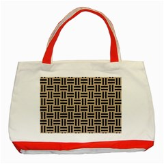 Woven1 Black Marble & Sand Classic Tote Bag (red) by trendistuff
