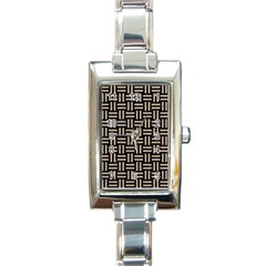 Woven1 Black Marble & Sand (r) Rectangle Italian Charm Watch by trendistuff