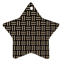 Woven1 Black Marble & Sand (r) Star Ornament (two Sides) by trendistuff