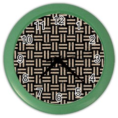 Woven1 Black Marble & Sand (r) Color Wall Clocks by trendistuff