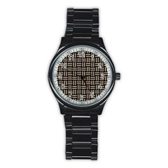 Woven1 Black Marble & Sand (r) Stainless Steel Round Watch by trendistuff