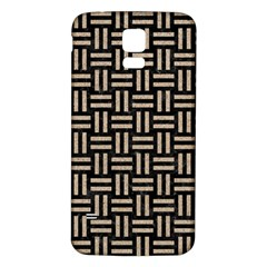 Woven1 Black Marble & Sand (r) Samsung Galaxy S5 Back Case (white)