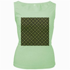 Woven2 Black Marble & Sand Women s Green Tank Top