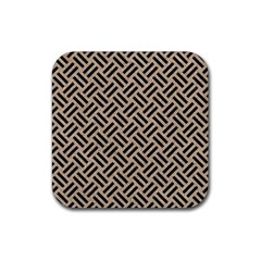 Woven2 Black Marble & Sand Rubber Square Coaster (4 Pack)  by trendistuff