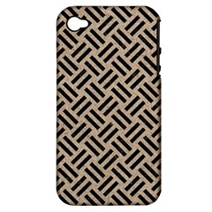 Woven2 Black Marble & Sand Apple Iphone 4/4s Hardshell Case (pc+silicone) by trendistuff
