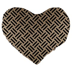 Woven2 Black Marble & Sand Large 19  Premium Heart Shape Cushions by trendistuff