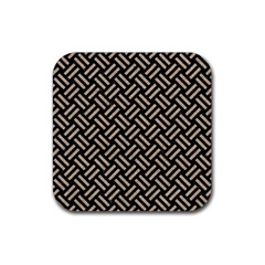 Woven2 Black Marble & Sand (r) Rubber Coaster (square)  by trendistuff