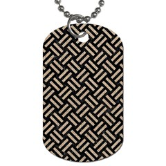 Woven2 Black Marble & Sand (r) Dog Tag (one Side) by trendistuff