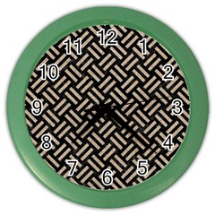 Woven2 Black Marble & Sand (r) Color Wall Clocks by trendistuff