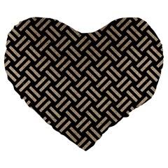 Woven2 Black Marble & Sand (r) Large 19  Premium Flano Heart Shape Cushions by trendistuff