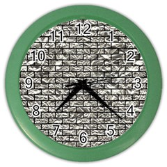 Brick1 Black Marble & Silver Foil Color Wall Clocks by trendistuff