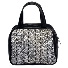 Brick1 Black Marble & Silver Foil Classic Handbags (2 Sides) by trendistuff