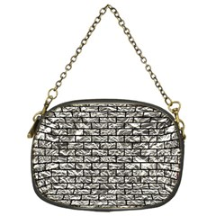Brick1 Black Marble & Silver Foil Chain Purses (one Side)