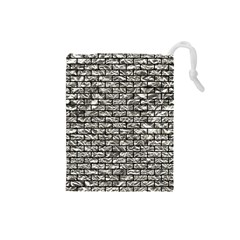 Brick1 Black Marble & Silver Foil Drawstring Pouches (small)