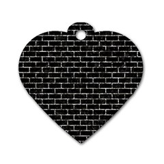 Brick1 Black Marble & Silver Foil (r) Dog Tag Heart (one Side) by trendistuff
