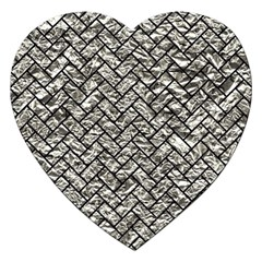 Brick2 Black Marble & Silver Foil Jigsaw Puzzle (heart) by trendistuff