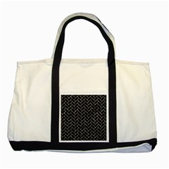 Brick2 Black Marble & Silver Foil (r) Two Tone Tote Bag by trendistuff