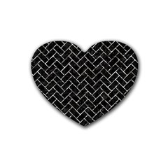 Brick2 Black Marble & Silver Foil (r) Rubber Coaster (heart)  by trendistuff