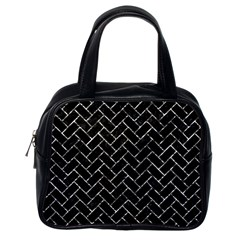 Brick2 Black Marble & Silver Foil (r) Classic Handbags (one Side) by trendistuff